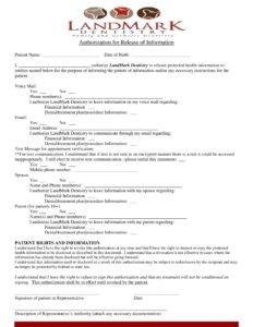 authorization form of landmark dentistry