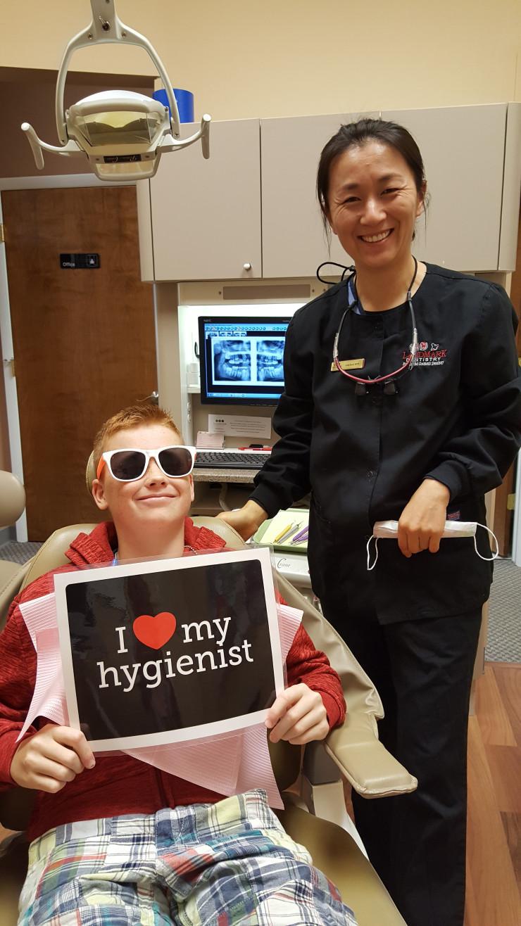 patient loves his hygienist at LandMark Dentistry